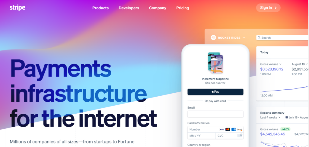 Website of Stripe Payment Gateway