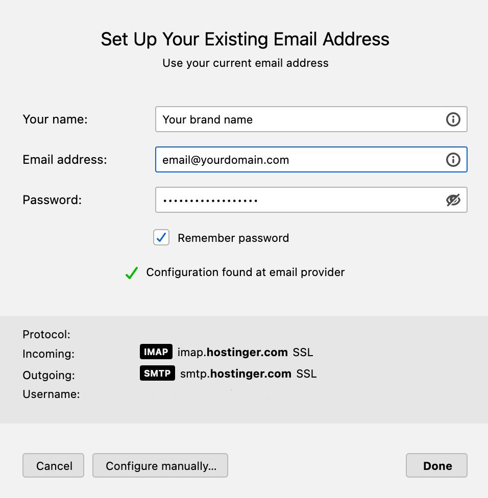 Email setup on Thunderbird