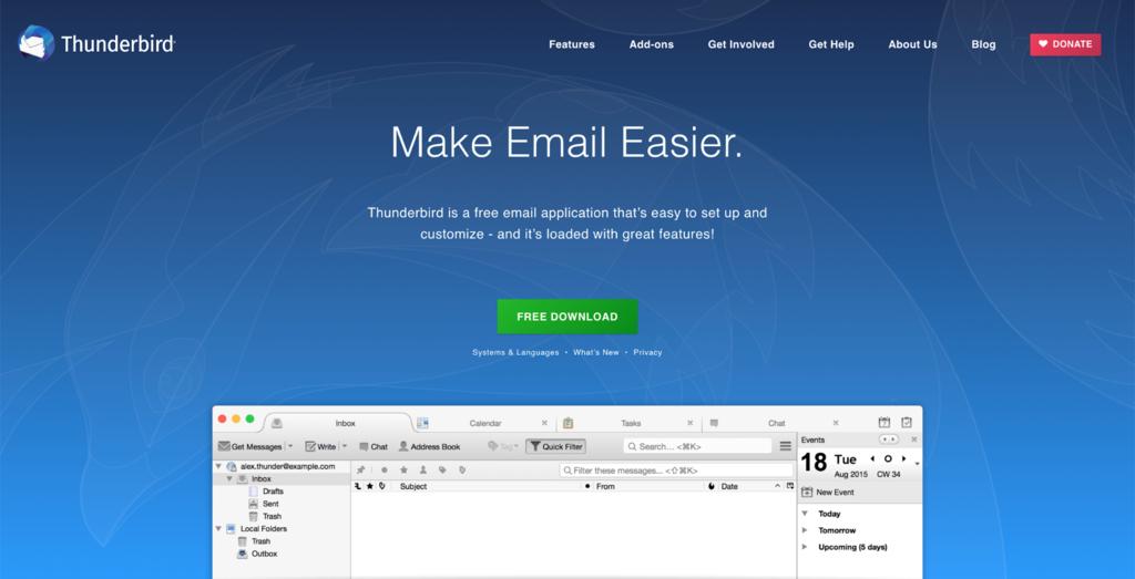 Mozilla Thunderbird home page.