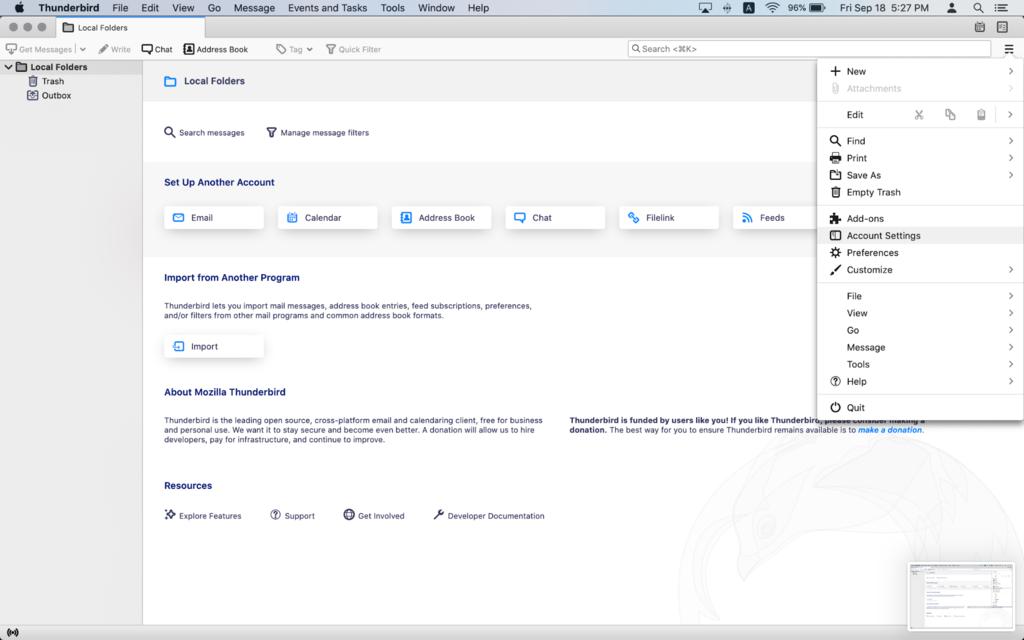 Accessing Account Settings in Mozilla Thunderbird.