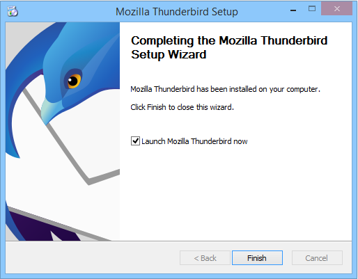 Finalizing Mozilla Thunderbird setup on Windows.