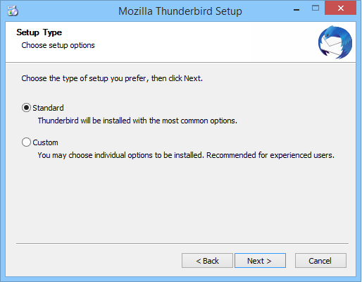 Selecting the type of setup for Mozilla Thunderbird on Windows.