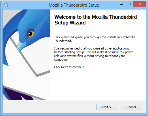 Mozilla Thunderbird setup wizard on Windows.