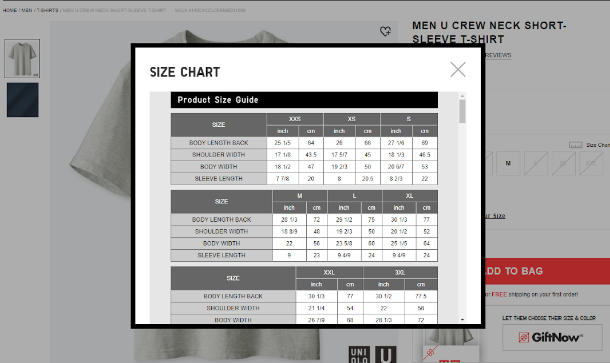 Size chart on Uniqlo's product description