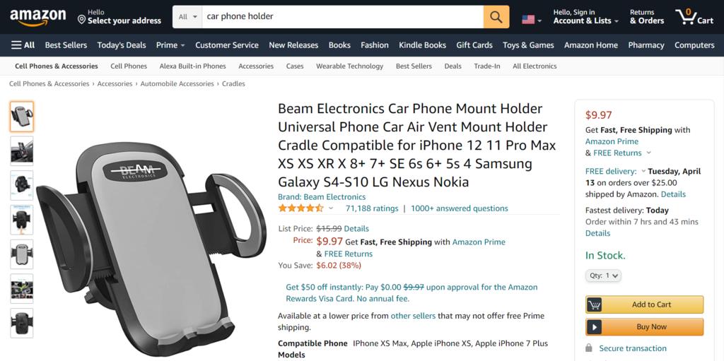 A Trending Car Phone Holder on Amazon