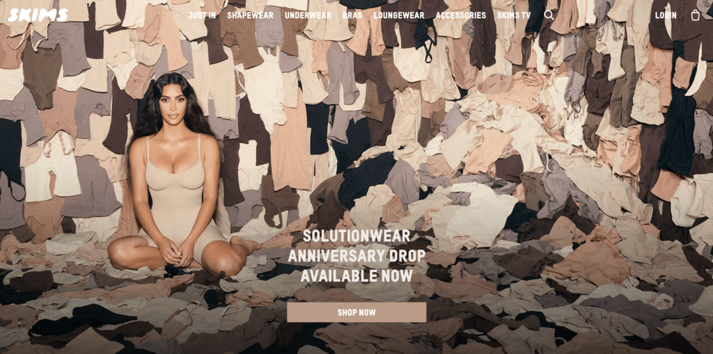 Homepage of Skims, a Brand That's Made Shapewear a Trending Product