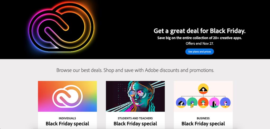 Adobe's Black Friday sale page.