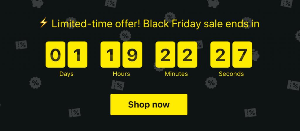 Ví dụ bộ đếm ngược black friday marketing