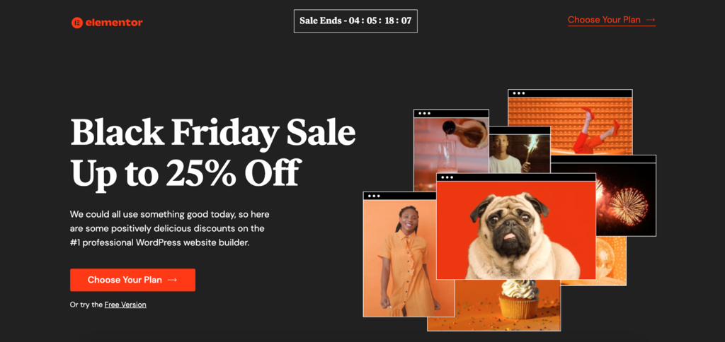Elementor's Black Friday sale page.