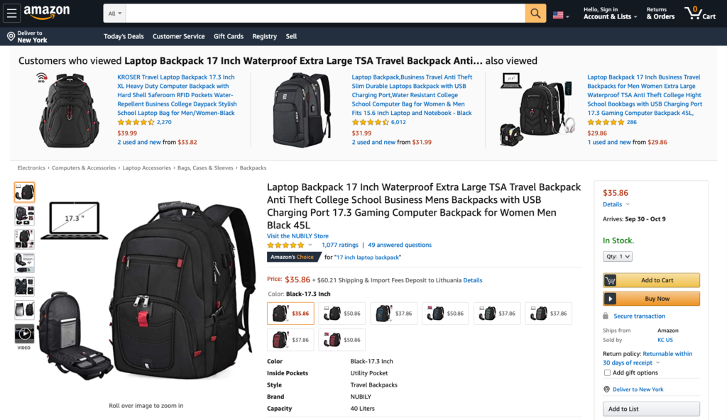 Screenshot of product photos and product page
