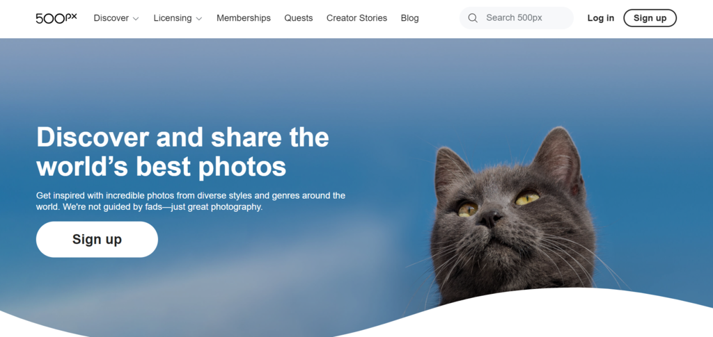 500px homepage to sell photos online