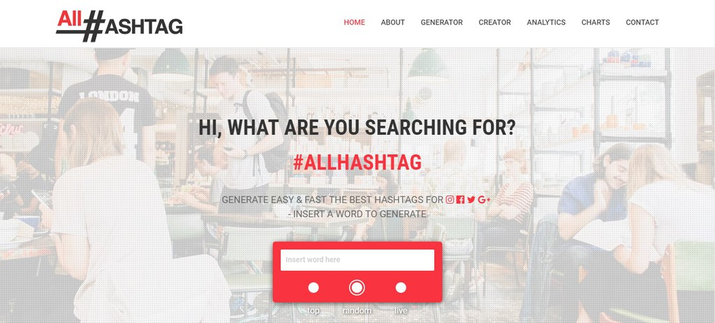 AllHastag homepage to help sell photos online