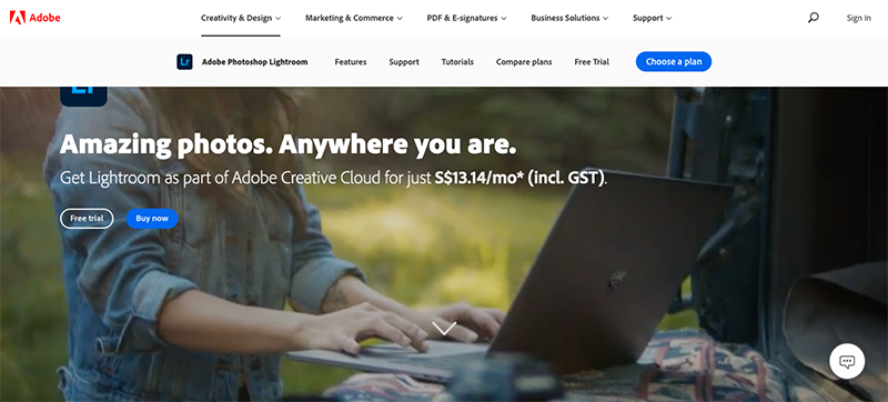 Screenshot of Adobe Lightroom website