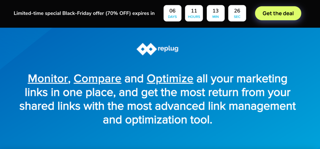Replug's Black Friday sale page.
