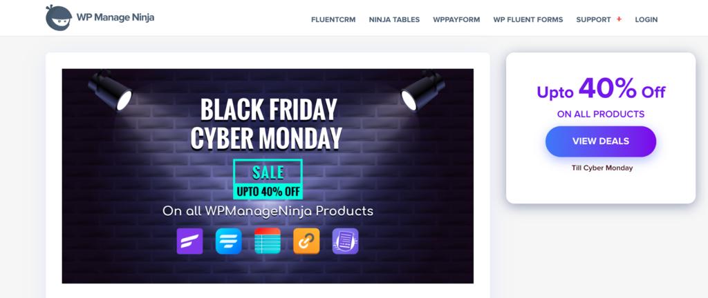 WP Manage Ninja's Black Friday sale page.
