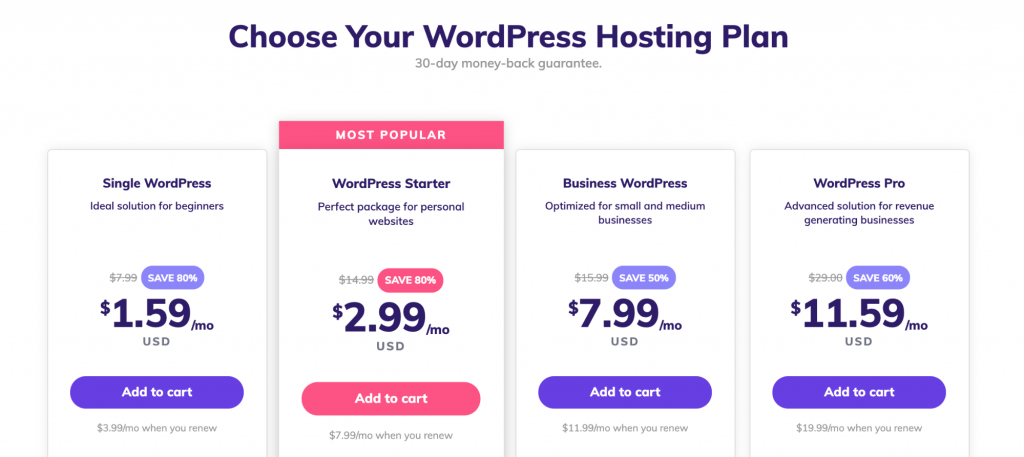 Hostinger's WordPress hosting plans