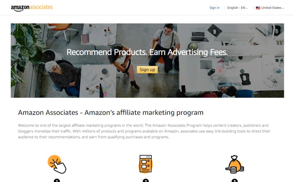 Amazon affiliates landing page