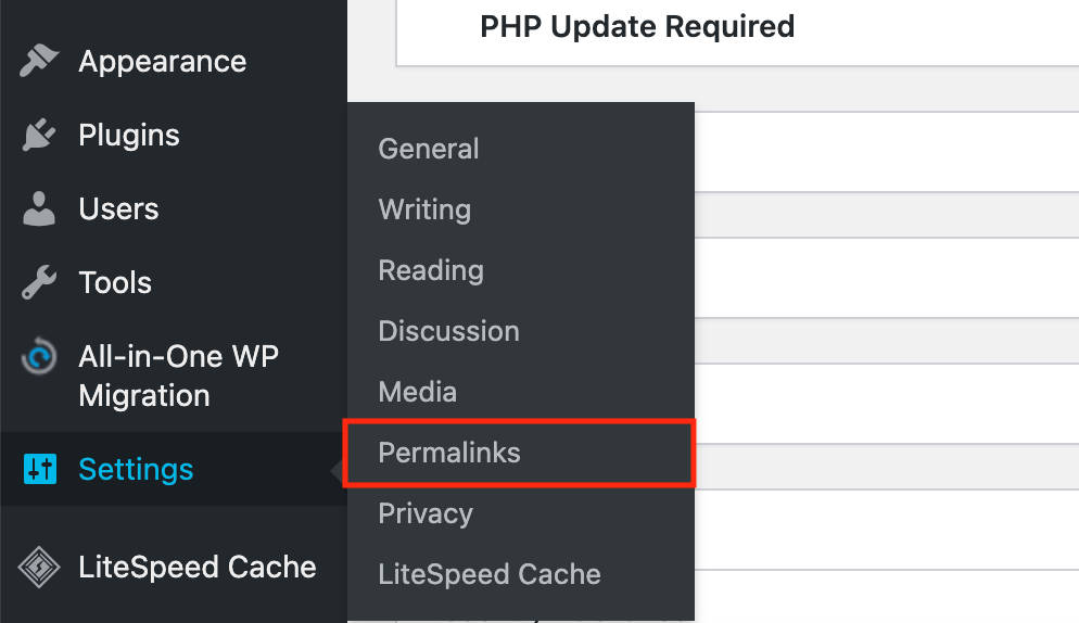 WP permalinks settings