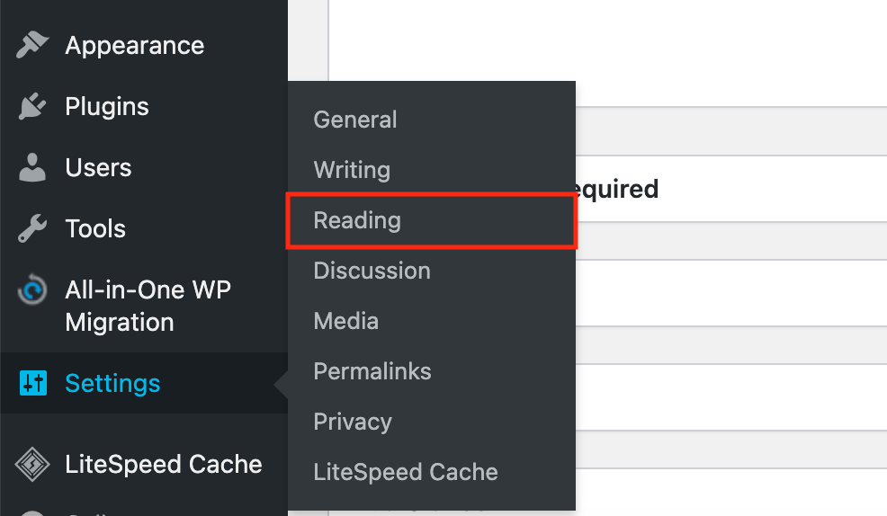 WP dashboard reading settings