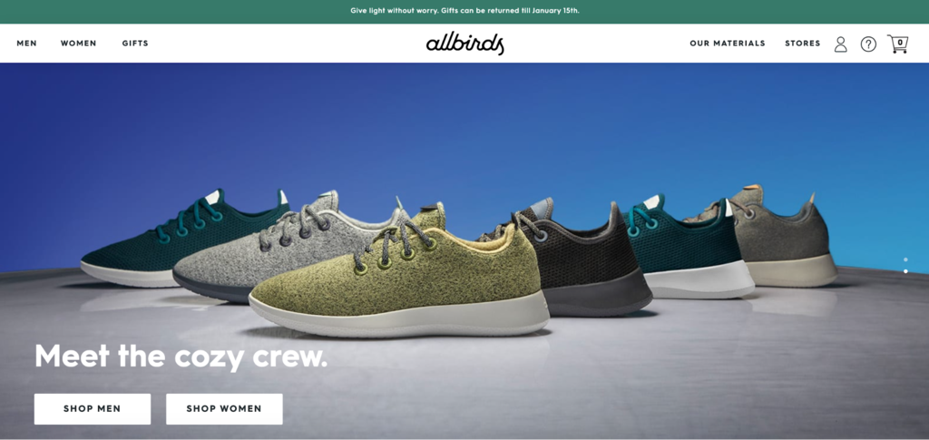 Allbirds homepage