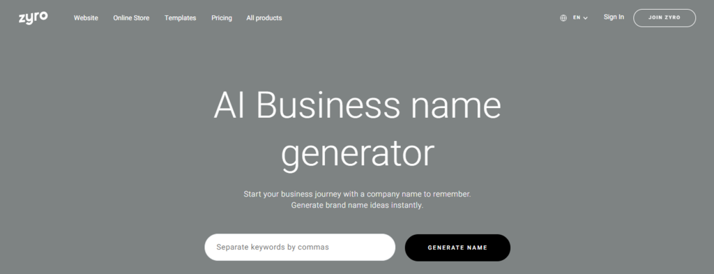 Zyro's business name generator