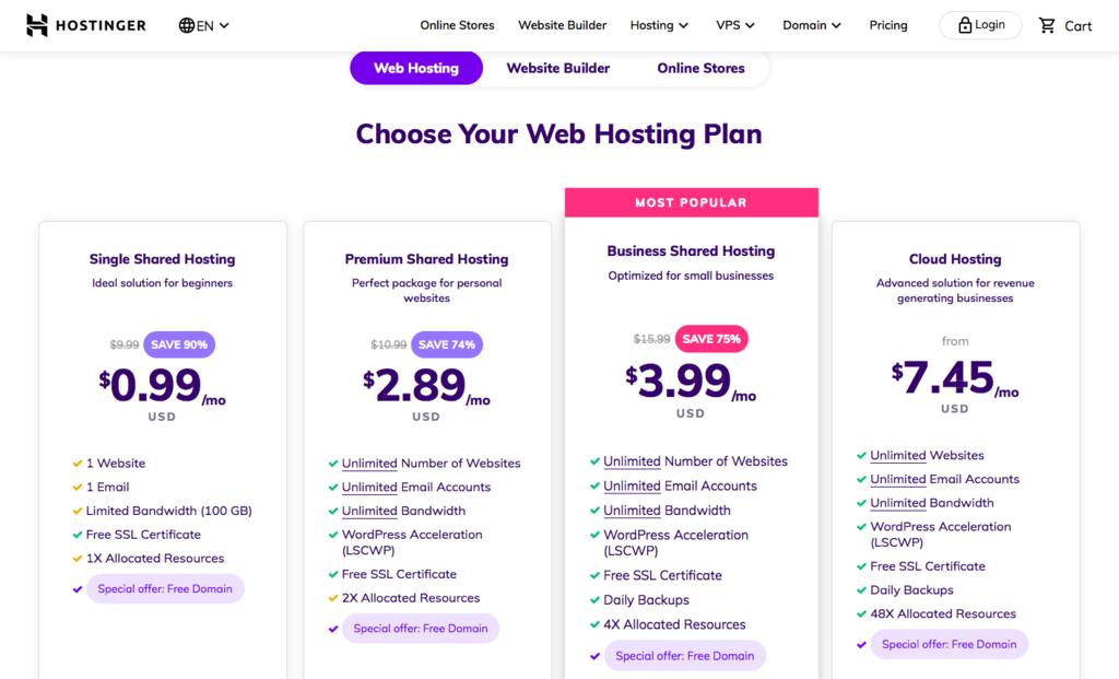Hostinger's hosting plans