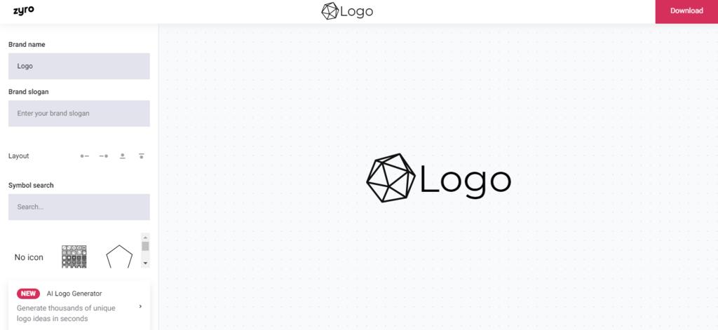 Zyro's logo generator