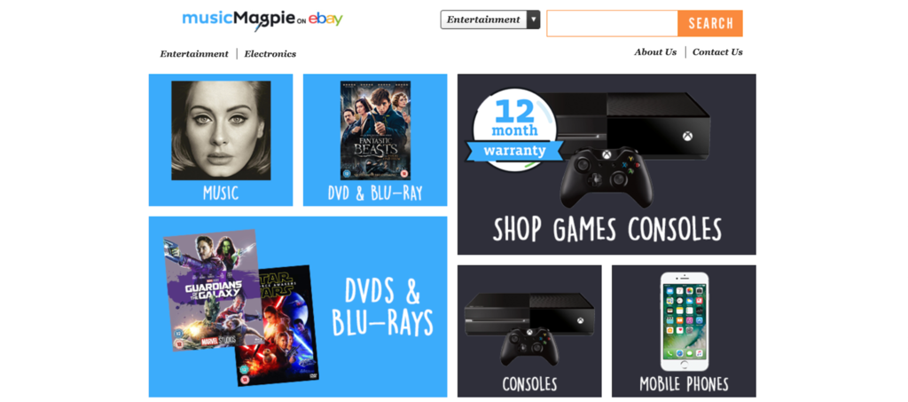MusicMagpie homepage