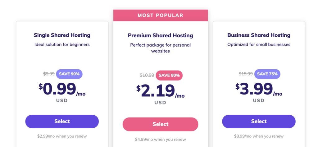 hostinger's shared hosting prices