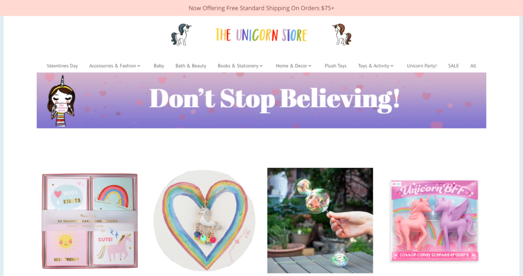 The unicorn store homepage