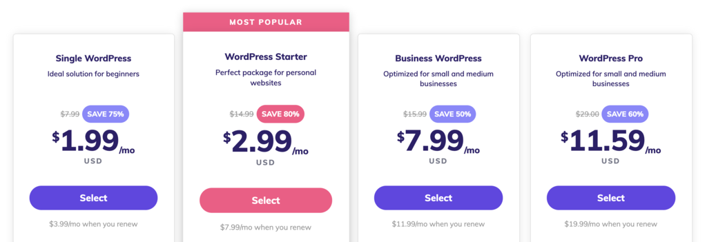 Hostinger's WordPress hosting prices