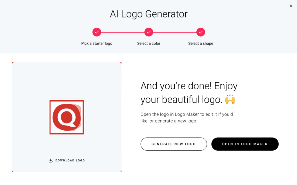 Screenshot showing AI Logo Generator feature