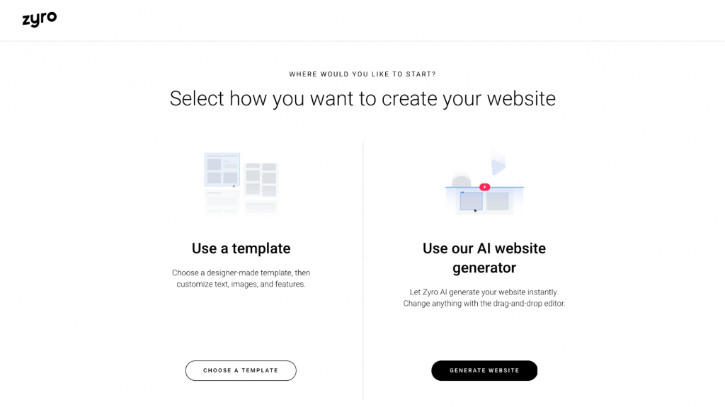 Screenshot showing AI Website Generator feature