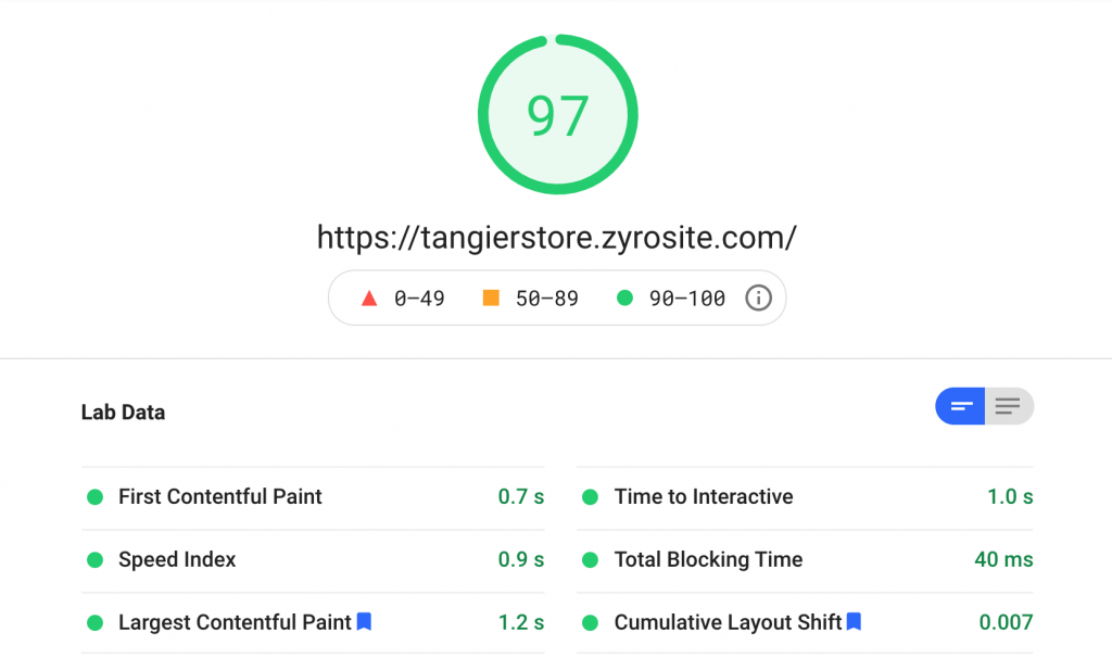 Screenshot showing results of PageSpeed Inslight