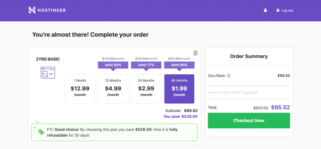 Screenshot showing pricing plans