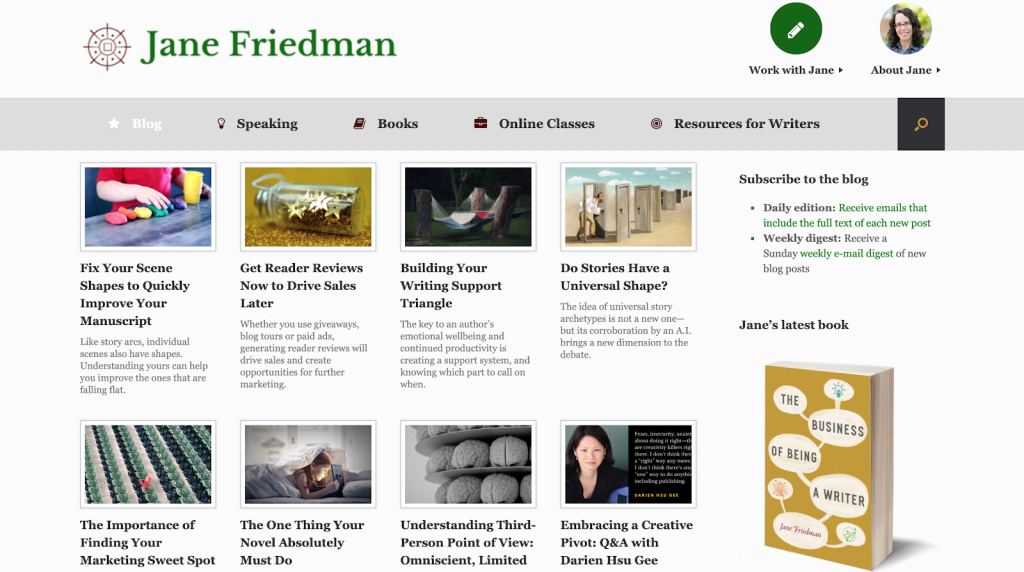 Screenshot showing Jane Friedman blog, which is aimed at aspiring authors