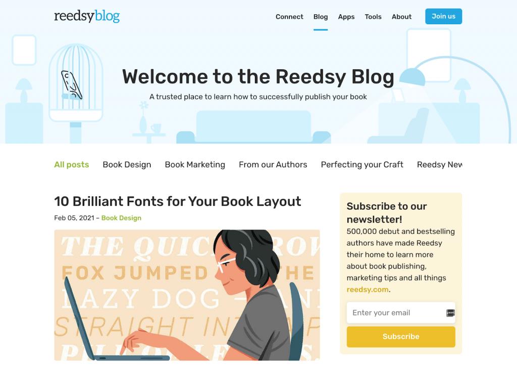 exemplo de o que é um blog, a página inicial da reedsy