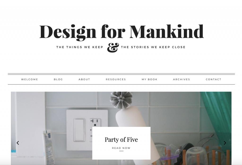 página inicial do blog design for mankind