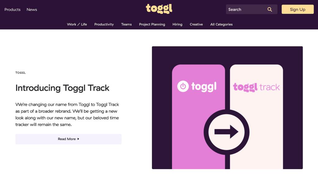 página inicial do blog da Toggl