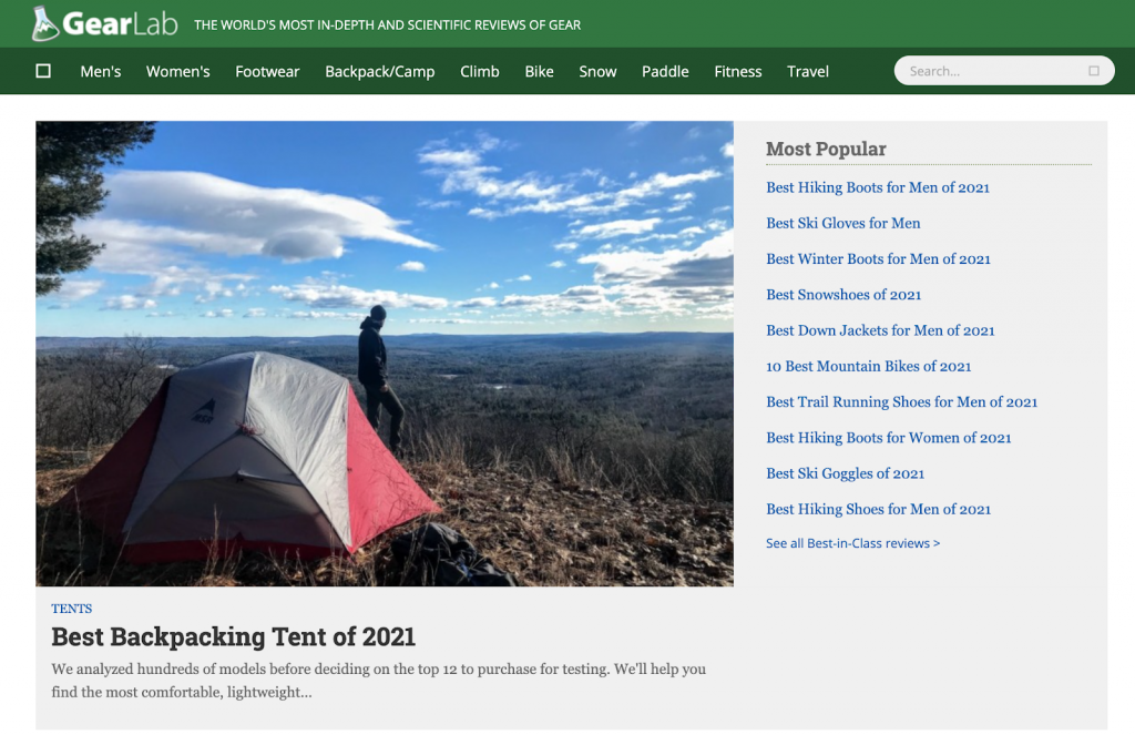 exemplo de blog outdoor gear lab
