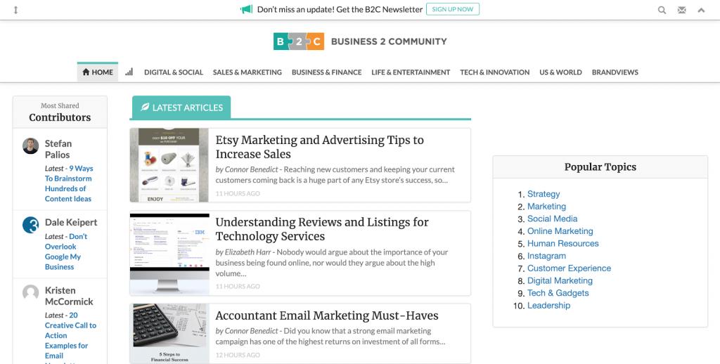 exemplo de blog reverso business2community