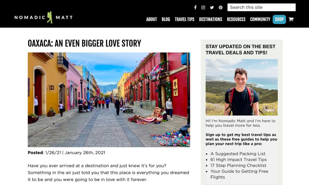 publicação do blog nomandic matt