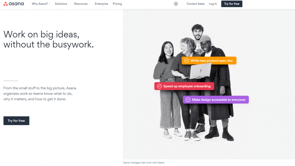 """Asana homepage featuring """"work on big ideas, without the busywork"""""""