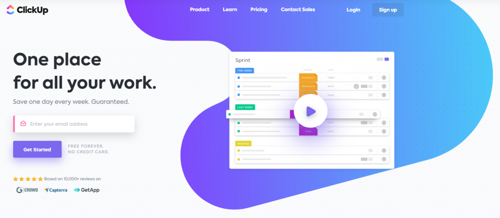 ClickUp homepage featuring one place for all your work