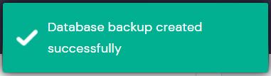 Screenshot of the database backup check