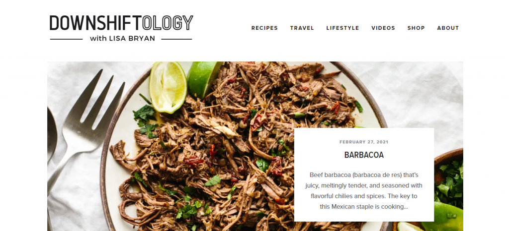 Homepage of Downshiftology featuring a barbacoa recipe