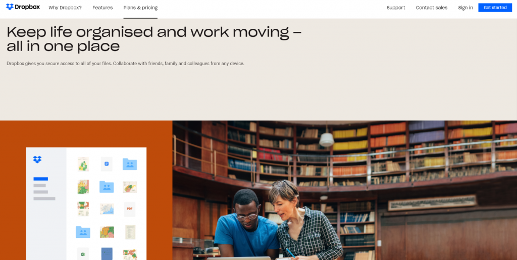 Dropbox homepage featuring keeping life organized and work moving-all in one place