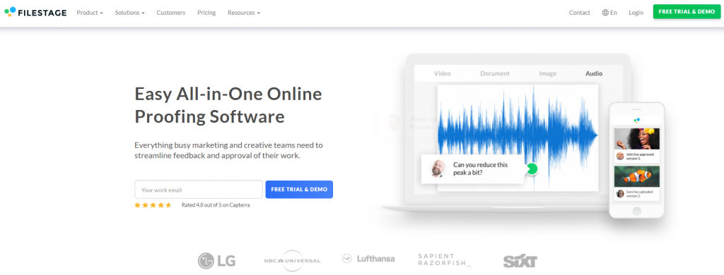 Filestage homepage featuring an easy all-in-one online proofing software