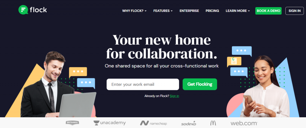 """Flock homepage featuring """"your new home for collaboration"""""""