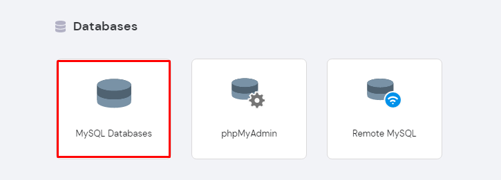 Screenshot of MySQL Databases on hPanel